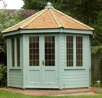 Summerhouses and garden buildings, Crews Hill, North London UK