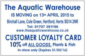 re-location and special offer from The Aquatic Warehouse