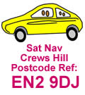 Satellite navigation ref. for Crews Hill, London UK